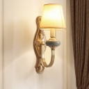 Retro Cone Shade Wall Light Single-Bulb Fabric Wall Mounted Lamp with Curved Arm in Gold