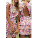 Fancy Womens Dress All Over Flower Print Ruffled Sleeveless Crew Neck Tiered Mid A-line Dress in Pink