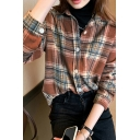 Leisure Women's Shirt Blouse Plaid Pattern Button Closure Spread Collar Long Sleeves Regular Fitted Shirt Blouse