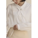 Trendy Women's Shirt Blouse Solid Color Button Fly Tie Front Long Bishop Sleeves Regular Fitted Shirt Blouse