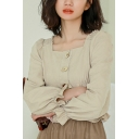 Leisure Women's Shirt Blouse Solid Color Button Fly Ruffles Hem Stringy Selvedge Embellished Long Flare Cuffs Sleeves Square Collar Shirt Blouse