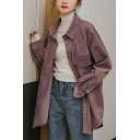 Leisure Women's Shirt Blouse Solid Color Flap Pocket Turn-down Collar Long Sleeves Regular Fitted Shirt Blouse