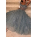 Boutique Dress Semi-sheer Mesh Embroidered Sweetheart Neck Maxi Flared Pleated Dinner Dress in Blue