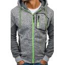 Fancy Men's Hoodie Heathered Contrast Stitching Side Pocket Zip Detail Long Sleeves Raglan Regular Fitted Drawstring Hooded Sweatshirt