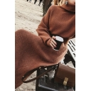 Fashion Womens Dress Plain Long Sleeve Turtleneck Knitted Belted Long Shift Sweater Dress in Brown