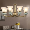 3/24/40-Bulb Chandelier Light Vintage Dining Room Hanging Pendant with Flared Frost Glass Shade in Gold