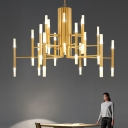 Postmodern Tiered Chandelier Lamp Acrylic 36 Heads Kitchen Dinette Ceiling Light in Black/Gold