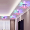 Lotus Living Room LED Ceiling Lamp Clear Crystal Flush Mount Recessed Lighting in Warm/White/Multi-Color Light, 3/5w