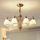 3/8/10 Heads Chandelier Lamp Traditional Dining Room Hanging Light with Bell White Glass Shade in Gold
