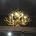 Yellow 6/8/12-Head Pendant Lighting Country Style Resin Antler Chandelier for Living Room