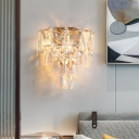 Mid-Century Tiered Tapered Wall Lamp Clear Cut K9 Crystal 3-Bulb Living Room Flush Wall Sconce in Rose Gold