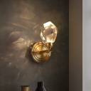 Postmodern Gem Shaped Wall Sconce Beveled Crystal Dining Room LED Wall Mount Light in Brass, Warm/White Light