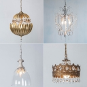 1-Light Crystal/Clear Glass Pendulum Light Retro Brass/White Bell/Crown Shaped Bedside Down Lighting Pendant