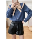 Stylish Women's Shirt Blouse Contrast Trim Ruffles Bow Tie Turn-down Collar Button-up Long Sleeves Regular Fitted Shirt Blouse