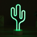 White Cactus LED Night Lighting Cartoon Plastic Battery Table Light for Childrens Bedroom