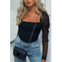 Retro Women's Blouse Solid Color Mesh Gauze Patchwork Square Neck Pleated Detail Long Puff Sleeves Slim Fitted Blouse Shirt