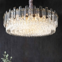 Crystal Layers Chandelier Modern 5/9/18 Heads Living Room Hanging Pendant Lamp in Gold