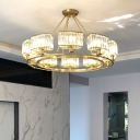 6/8/10 Heads Circular Hanging Chandelier Postmodern Gold Crystal Prism Ceiling Pendant Light