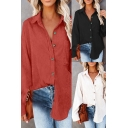 Fancy Womens Shirt Solid Color Corduroy Button Closure Chest Pocket Turn-down Collar Long Sleeved Regular Fitted Shirt
