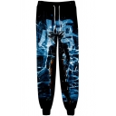 Hot Fashion Anime Figure 3D Printed Navy Drawstring Waist Casual Relaxed Jogging Sweatpants