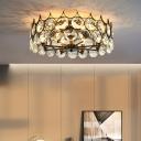 Beveled Crystal Black Ceiling Lighting Drum 8 Heads Vintage Style Semi Flush Mounted Lamp, 19.5