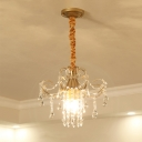 Crystal Draping Brass Chandelier Scroll-Arm 3 Lights Traditional Ceiling Pendant Lamp