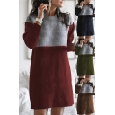 Leisure Women's Sweater Dress Color Block Contrast Panel Ribbed Trim Crew Neck Long Sleeves Regular Fitted Midi Knitted Sweater Dress
