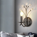 Crystal Branchlet Wall Light Fixture Countryside 1 Bulb Bedroom Wall Mounted Lamp with Faux Candle in Black