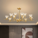 Clear Hand-Blown Glass Cone Chandelier Postmodern 6/8/12 Bulbs Dining Room Hanging Light Kit in Brass