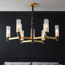 Post-Modern Tubular Hanging Pendant 6/8/9-Light Prismatic Glass Chandelier in Yellow and Black