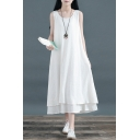 Fancy Women's Swing Dress Solid Color Double Layered Round Neck Sleeveless Relaxed Fit Swing Dress