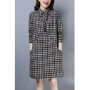 Stylish Women's Shirt Dress Plaid Printed Front Pockets Button Design Turn-down Collar Long Sleeves Regular Fitted Short Shirt Dress