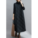 Vintage Women's Swing Dress Quilted Detail Contrast Panel Turtleneck Long Sleeves Loose Fitted Long Sweatshirt Dress