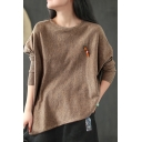 Womens T-Shirt Trendy Covering Yarn Asymmetric Hem Cuffed Relaxed Fitted Long Sleeve Crew Neck Sweater with Carrot Brooch