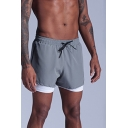 Fancy Mens Shorts Double Layered Quick Dry Drawstring Side Pockets Waist Regular Fitted Shorts