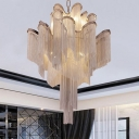 Cascading Ceiling Chandelier Luxe Modern Aluminum Chain Silver/Gold LED Hanging Pendant Light