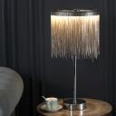Silver Tassel Table Light Minimalist Aluminum Chain LED Night Lamp for Living Room