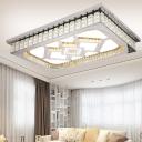 Clear Crystal Rectangular Ceiling Flush Modernism Chrome LED Flush-Mount Light Fixture with Acrylic Diffuser