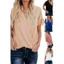Solid Color Tied Short Sleeve Surplice Neck Loose Fitted Casual Blouse Top for Ladies