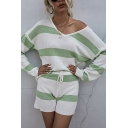 Fancy Striped Long Sleeve V-neck Loose Tee & Drawstring Waist Shorts Set in Green