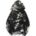 Retro Mens Tie Dye Smog Printed Front Pockets Long Sleeves Loose Fitted Drawstring Hooded Sweatshirt
