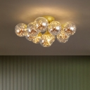 Smokey Grey Glass Bubble Ceiling Lighting Modern 7/11 Bulbs Black/Gold LED Flush Mount Light with Starry Effect
