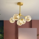 3/4/5 Bulbs Bedroom Firefly Pendant Lamp Nordic Gold Chandelier with Ball Cream/Cognac Glass Shade