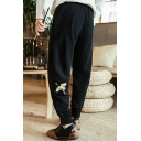 Fancy Men's Pants Crane Embroidered Banded Cuffs Ankle Length Regular Fitted Pants