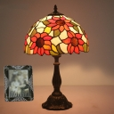 Hand Rolled Art Glass Sunflower Night Light Tiffany Single Yellow Table Lamp for Bedside