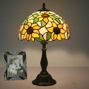 Sunflower Night Table Lamp Tiffany Handcrafted Art Glass 1-Light Yellow Nightstand Light