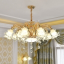 Traditional 2-Layer Ruffle Chandelier 6/8/15 Bulbs Clear Glass Wall Lighting in Gold with Crystal Accent