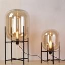 Postmodern Pill Capsule Floor Lamp Amber/Clear/Smoke Grey Glass Single Living Room Quadpod Standing Light in Black