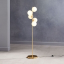 Opal Glass Bubble Floor Lamp Postmodern 5 Heads Gold Standing Light with Foot Switch