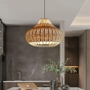 Rustic Pear Shaped Pendant Light Kit Rattan 1-Light Dining Table Small/Large Hanging Lamp in Wood